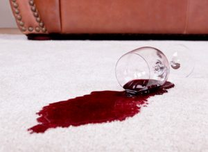 wine stain on clean white carpet